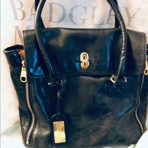 Badgley Mischka Large black,brown tote, Authentic